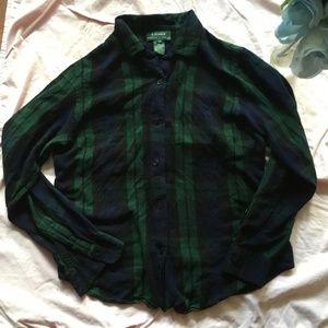 Ralph Lauren Dark Green Scale Flannel Small